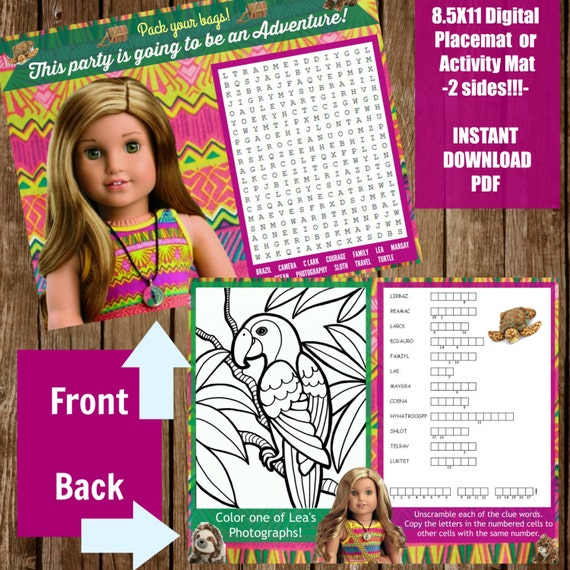 Lea Clark American Girl Doll Printable Placemat