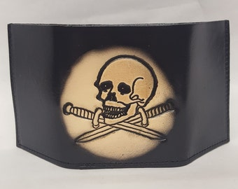 Skull with crossed swords Bifold or Trifold Leather Wallet