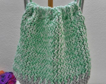Bag, backpack, made handmade, cotton, Circular loom, green Color, white Color, Color gray, summer, spring comfortable, Original, covered
