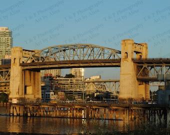 Bridge photo, architecture, wall art, Vancouver, 8 x 10 photo, fine art, sunset, ENLARGEMENTS available turtlesandpeace