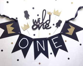 Wild One Birthday Decor - Cake Topper - Cupcake Topper - Highchair Banner - - Boho Party - First Birthday - Wild one Party Decor