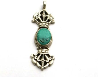 Charming Turquoise  925 Sterling Silver Pendant Blue By AmoreIndia