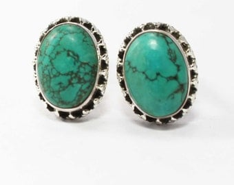 Marvelous Turquoise Cufflinks 925 Sterling Silver Blue Casajewels C232