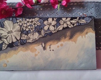 Handpainted original acrylic painting of flowers on upcycled MDF wall hanging.