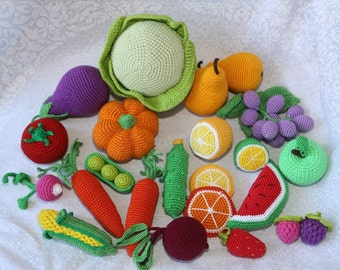 27 Pieces Toys kitchen Crochet Fruit Vegetables Play food Children toys Pretend play Organic toys Baby toy Montessori Toy food Waldorf toy