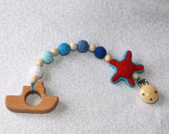 Teether, Teething beads,Toy clip, Crochet Eco Nursing, Wooden Ship, Organic Baby Rattle, Stroller Toy, Crochet Eco Friendly, StarFish Rattle