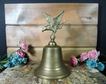 Heavy, Brass, Eagle Bell, Vintage, Americana, Home Decor, Patriotic Decor,