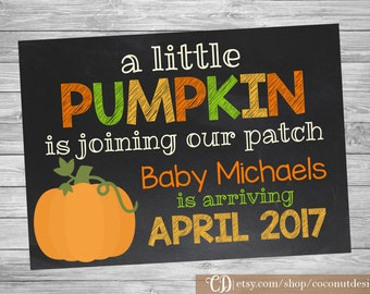 Fall Pregnancy Announcement / Chalkbord Sign / Fall Baby Announcement Sign / A Little Pumpkin / Pregnancy Reveal / Digital File