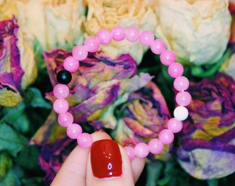BREAST CANCER AWARENESS Lokai inspired Crystal Bracelet: jade, onyx and magnesite. Energy cleared and Reiki charged.