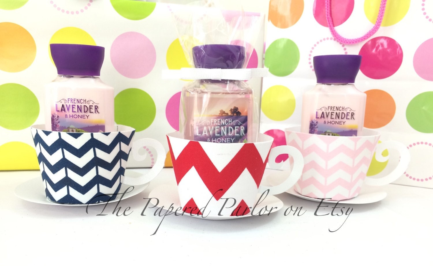 Set of 12 paper tea cup party favors chevron by for Teacup party favors