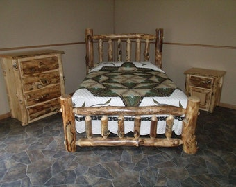 Rustic Aspen Log 3-pc KING BEDROOM Set - Complete w/ Mission-Style Bed, Dresser, and Nightstand - Handmade - Custom - Amish Made in USA