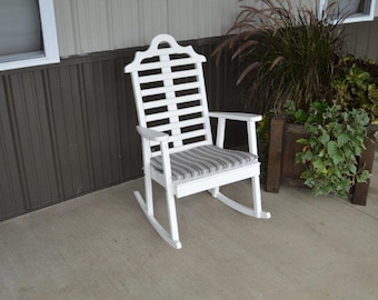 Pine Marlboro Style Porch Rocker *UNFINISHED* - Handmade - Amish made in the USA