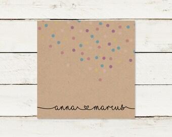 Wedding invitation | Kraft paper | Square | Confetti