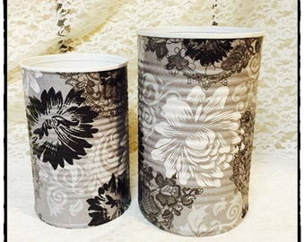Set of 2 black white and gray decorative pencil holders/dorm decor/brush holders/desk accessories/office organization/classroom decor