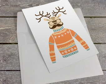 Reindeer With Glasses & A Mustache 5x7 inch Folded Christmas Greeting Card - GC1134