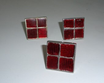 Vintage Silver Red Window Pane Unique Square cabinet cupboard drawer pulls knobs handle