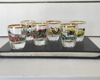 German Shot Glasses Classic Cars Set of Six by Ruhrglas c1950