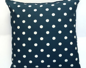 "Navy Blue with Dots 20"" x 20"" Pillow Cover"
