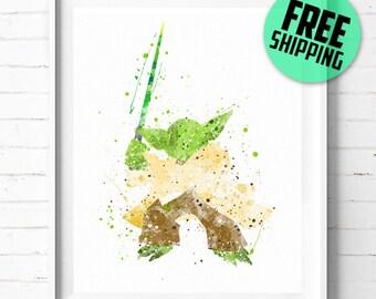 Star Wars Jedi Master Yoda print, Star Wars Yoda poster, Star Wars poster, Yoda art, watercolor, abstract, wall art, [34] office décor