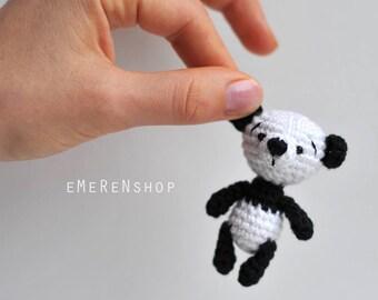 Panda bear-amigurumi panda-amigurumi bear-Cute Panda-Miniature Panda-Panda Doll-Mini Panda-Crochet Panda-tiny toy