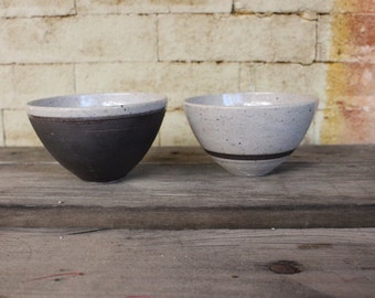 Pair of White Bowls with Iron Detail