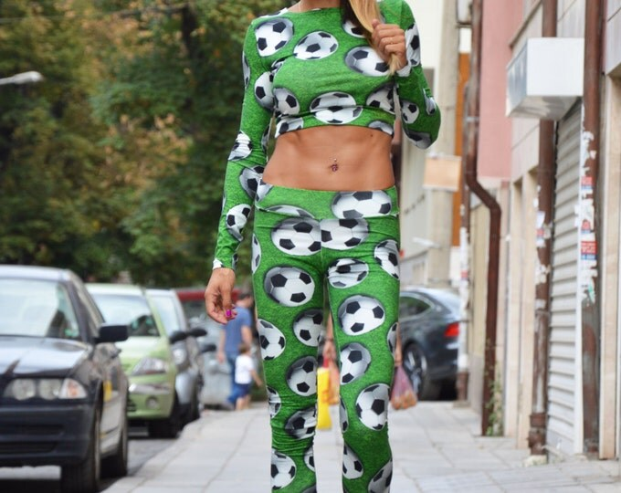 Women's Sport Footballs Set, Long Sleeves Blouse, Tight Leggings Top, Plus Size Set By SSDfashion