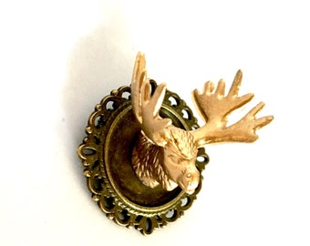 Moose/Stag/Elk/Deer head brooch, antlers, faux taxidermy, vintage style, hipster, boho, mounted animal head/antlers, cameo brooch