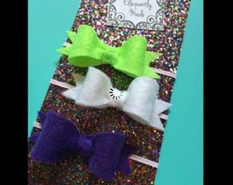 Green, Purple, and White bow set-  Triple Bow Set