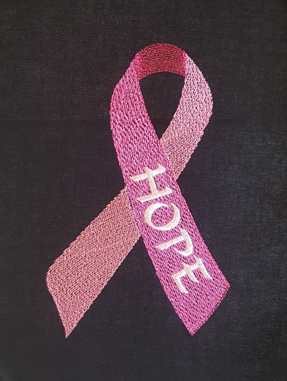 Pink ribbon embroidery design machine