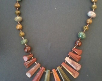 Jasper and Moss Agate Beaded Necklace