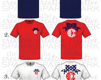 Memorial Day / July 4th / Labor Day Monogoram Bow Shirt