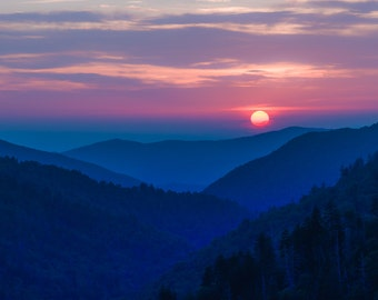 Fine Art Photo Print | Fine Art | Landscape Photography | Mountain Sunset | Smoky Mountains | Home Decor | Wall Decor