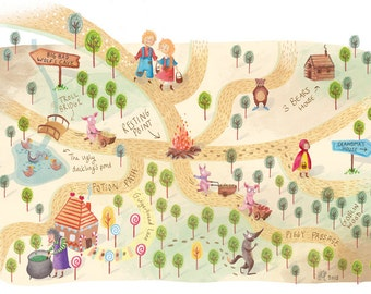 A3 print of Illustrated Children's Fairytale map