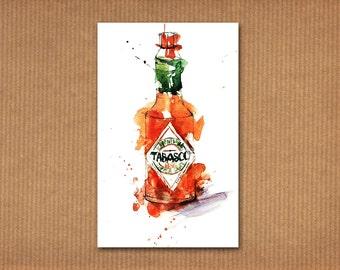 SALE! ORIGINAL watercolor painting: Tabasco sauce bottle
