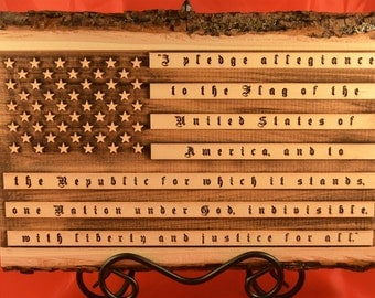 USA Flag with Pledge of Allegiance Engraved in Wooden plaque with bark