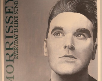 """Morrissey Everyday Is Like Sunday Art Pencil Drawing print from signed by artist 12""""x18"""""""