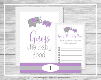 Elephant Baby Shower Guess The Baby Food Game - Printable Baby Shower Guess The Baby Food Game - Purple and Gray Elephant Baby Shower- SP116