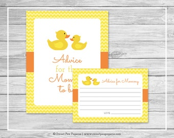 Rubber Ducky Shower Advice for Mom Cards - Printable Baby Shower Advice Cards - Rubber Duck Baby Shower - Advice for Mom to Be - SP121