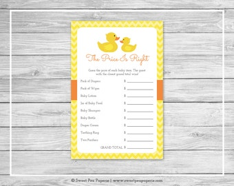 Rubber Ducky Baby Shower Price Is Right Game - Printable Baby Shower Price Is Right Game - Rubber Duck Baby Shower - Price Is Right - SP121
