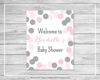 Pink and Silver Baby Shower Welcome Sign - Printable Baby Shower Welcome Sign - Pink and Silver Glitter Baby Shower - EDITABLE - SP123