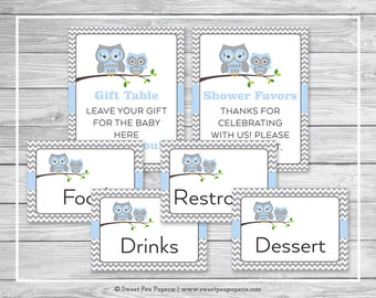 Owl Baby Shower Table Signs - Printable Baby Shower Table Signs - Blue Owl Baby Shower - Owl Shower - Baby Shower Signs - EDITABLE - SP135