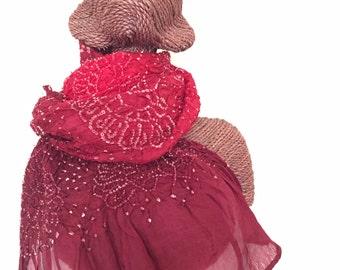 Handmade Habotai Silk Tie-dye Shibori Scarf