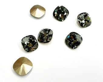 2 Pieces Swarovski #4470 Black Diamond, Antique Square Stones, Vintage, 10mm