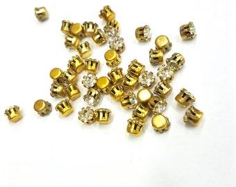 SALE 20 Pieces Crystal Swarovski Preset Stones, Raw Brass Tiffany Style Settings, Vintage, 17ss