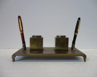 Brass Ink and Pen Desk Set