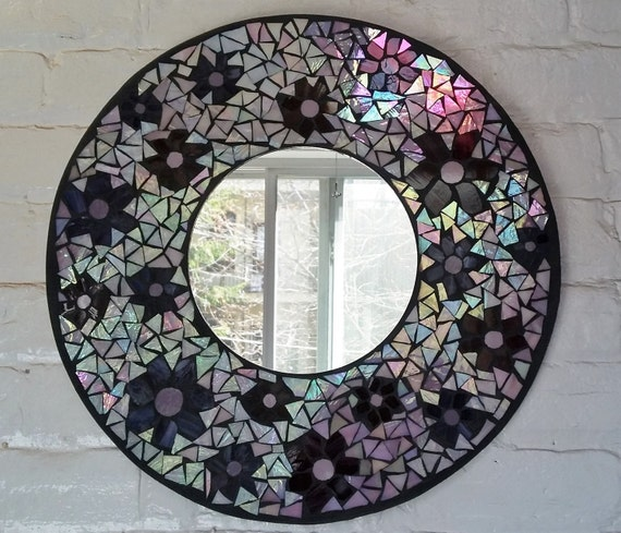 Miroir en mosa que design florale for Miroir mosaique design