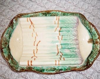 French ironstone Asparagus serving dish Longchamp, majolica, barbotine – French vintage, French décor – Plat à asperges terre de fer