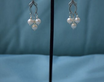 Sterling Silver Filigree Earings with REAL(NOT Plastic) Pearls