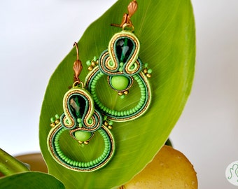 "Handmade Soutache Earrings - ""Apple Loops"""