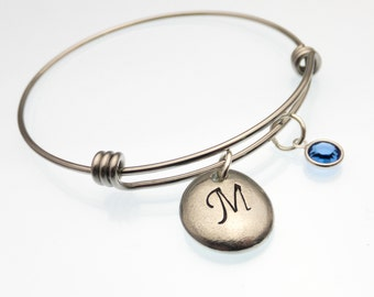 Monogrammed Hand Stamped Pewter Pebble Bracelet | Bracelet With Initial and Birthstone | Organic | Personalized | Earthy | Stamped Jewelry
